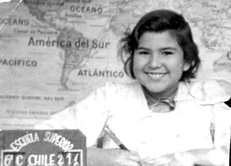 Caty en el colegio, fines de los años '50.