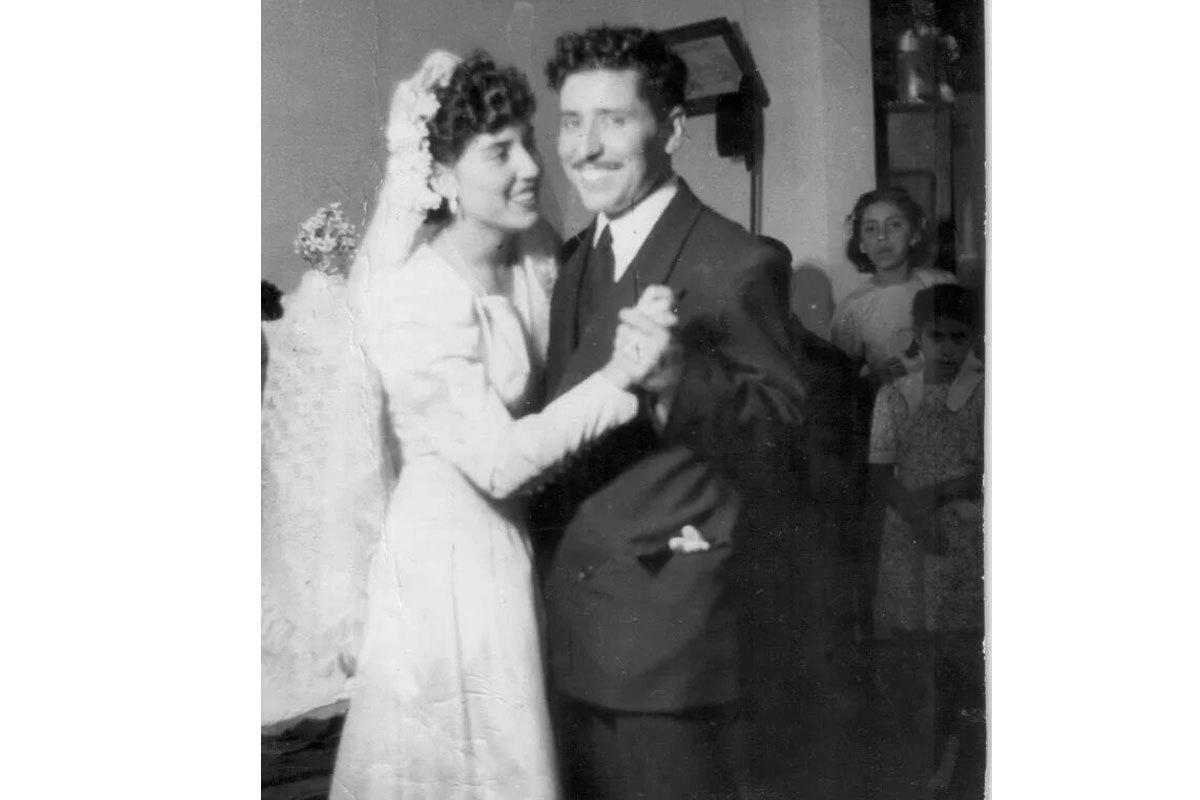 Manuel en la boda con su esposa, Ana Concepción